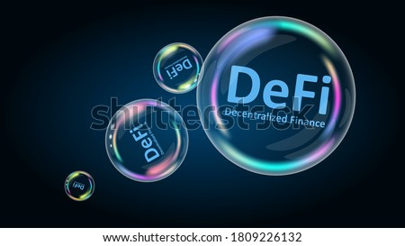 DeFi decentralized finance is a bubble. The financial pyramid will burst soon and destroyed. Vector EPS10.