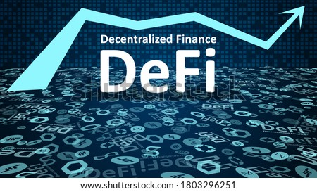 DeFi - decentralized finance with altcoin logos and up arrow symbol on dark blue background. Signs of the largest projects in the DeFi sector. Vignetting. Vector EPS10. Stockfoto ©