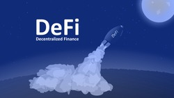 DeFi projects flies to the Moon. The decentralized finance sector is growing rapidly. The rocket with the inscription takes off from the ground and rushes upward. Vector EPS10.