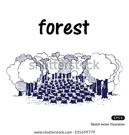Deforestation. Hand drawn sketch illustration isolated on white background