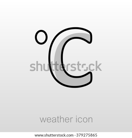 Degrees Celsius Outline Icon Meteorology Weather Vector
