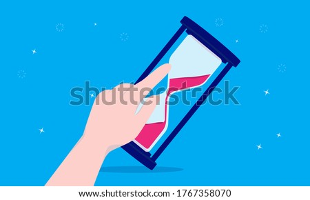 Delay time - Hand pushing and overturning hourglass with one finger. Intermission, pause and interrupting concept. Vector illustration. Stock photo ©