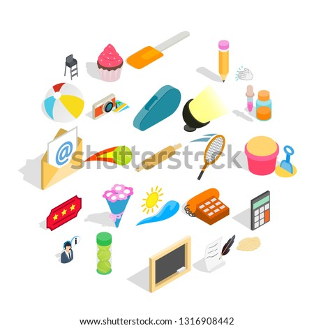 Delectation icons set. Isometric set of 25 delectation vector icons for web isolated on white background