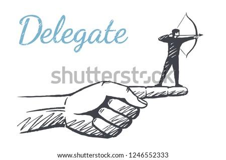 Delegate. Archer is on the index finger. Vector background concept illustration, hand drawn sketch.