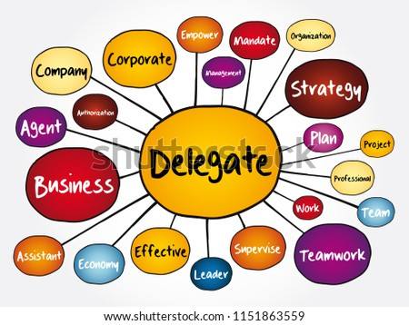Delegate mind map flowchart, business concept for presentations and reports