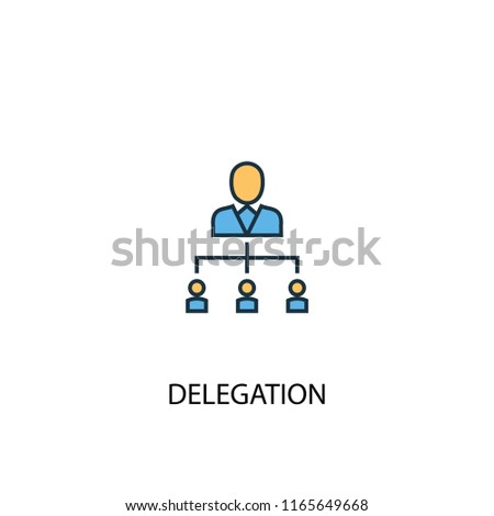 Delegation concept 2 colored line icon. Simple yellow and blue element illustration. Delegation concept outline symbol design from Project management set