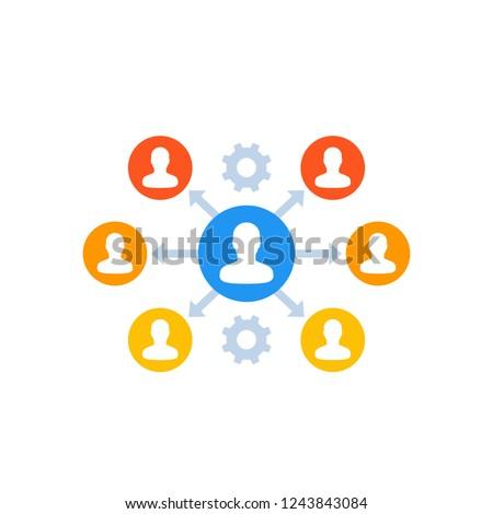 delegation, management icon on white