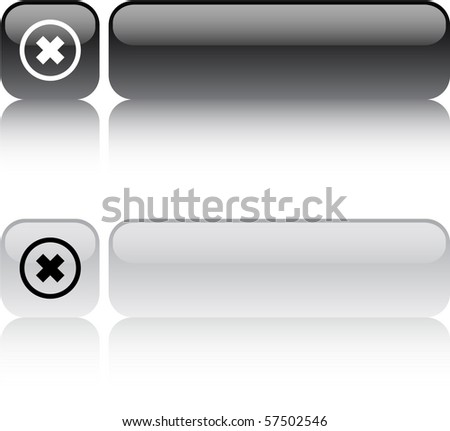 Delete cross glossy square web buttons.