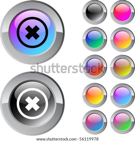 Delete cross multicolor glossy round web buttons.