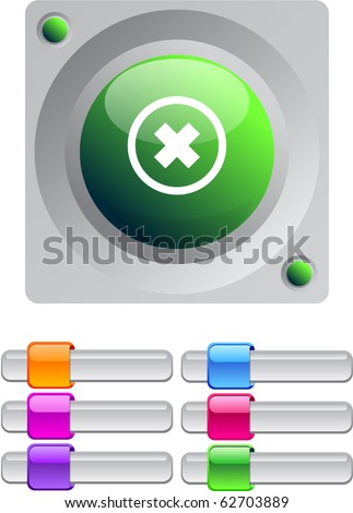 Delete cross vibrant round button with additional buttons.