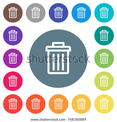 Delete flat white icons on round color backgrounds. 17 background color variations are included.