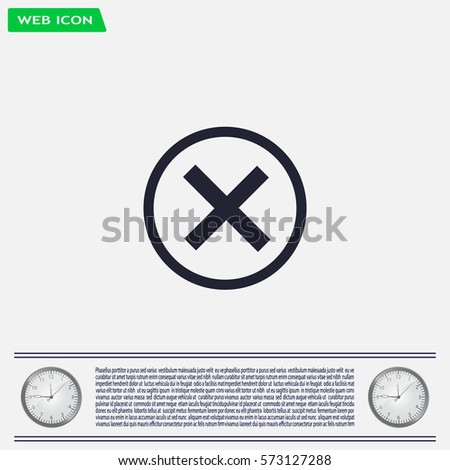 Delete icon. Cross sign in circle - can be used as symbols of wrong, close, deny etc. Vector illustration, EPS 10