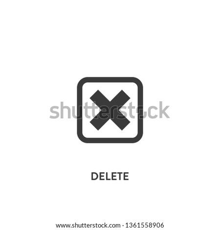Delete icon vector. Delete sign on white background. Delete icon for web and app