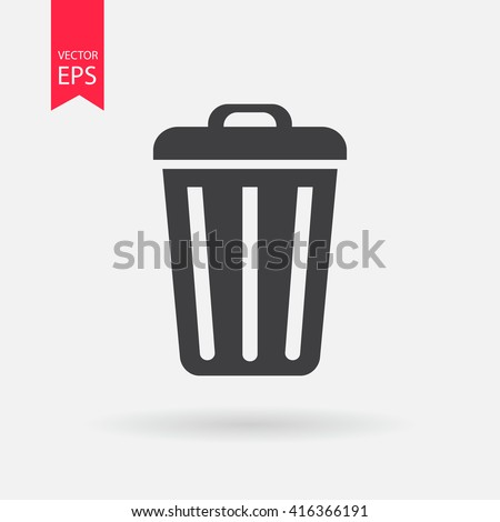 Delete icon vector, Trash can, bin, Garbage sign isolated on white background. Trendy Flat style for graphic design, Web site, UI. EPS10