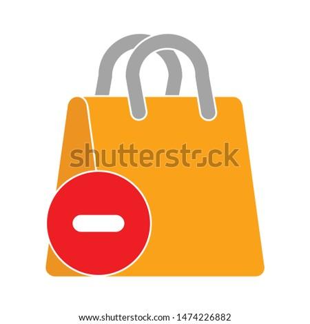 delete shopping bag icon. flat illustration of delete shopping bag vector icon. delete shopping bag sign symbol