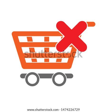 delete shopping cart icon. flat illustration of delete shopping cart vector icon. delete shopping cart sign symbol