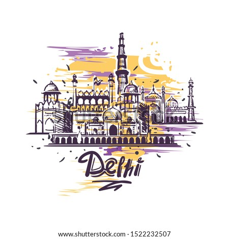 Delhi abstract art color drawing. Delhi sketch vector illustration isolated on white background.