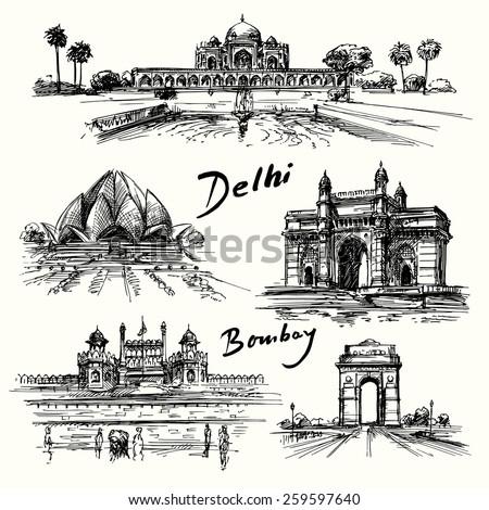 delhi  bombay   hand drawn