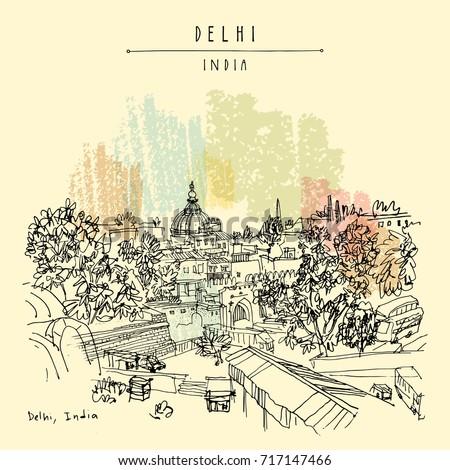 delhi  india hand drawn sketch