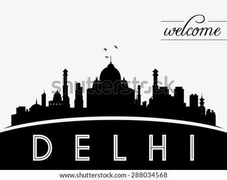 delhi  india skyline silhouette