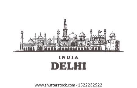 Delhi sketch skyline. Delhi, India hand drawn vector illustration. Isolated on white background.