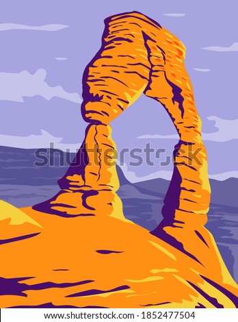 Delicate Arch Freestanding Natural Arch in Arches National Park Moab Grand County Utah WPA  Poster Art Color Zdjęcia stock ©