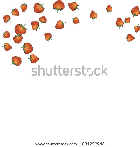 Delicate background with Strawberries. Trendy template for a postcard, stamp, banner or poster. Cute Strawberries on a white background. Vector #1031259943