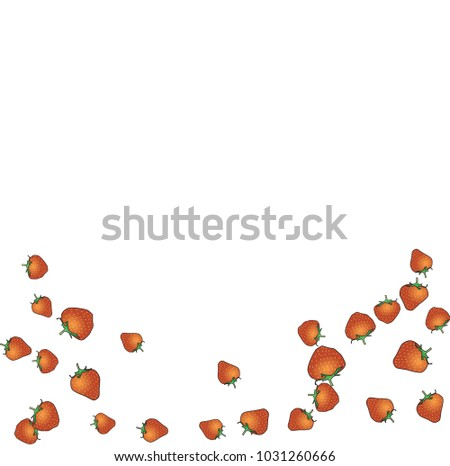 Delicate background with Strawberries. Trendy template for a postcard, stamp, banner or poster. Cute Strawberries on a white background. Vector #1031260666