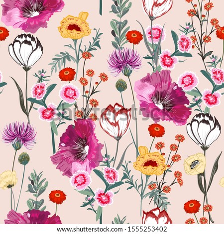 Delicate blooming garden flowers in many kind of florals seamless pattern in vector ,Design for fashion,fabric,web,wallpaper,wrapping and all prints on light pink background color
