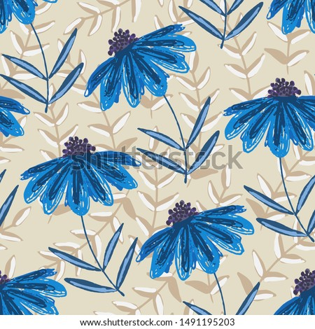 delicate blue floral seamless