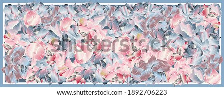 Delicate colors of silk scarf with flowering peony. Abstract vector pattern with hand drawn floral elements. Trend colorful silk scarf with flowers.  Pink, blue, violet and white. Batik Foto stock ©