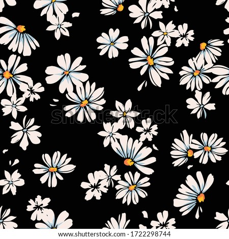Delicate daisy print - seamless vector background Stockfoto ©