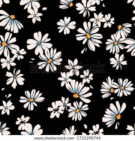 Delicate daisy print - seamless vector background Foto stock ©