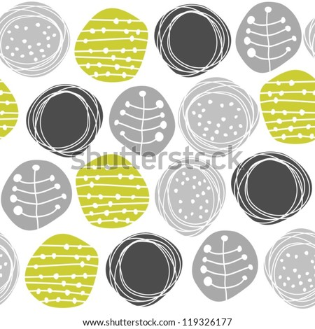 delicate floral gray green retro pattern with patterned circles on white background