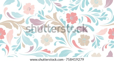 Delicate flowery pattern. Floral seamless background for textile, wallpapers, wrapping, paper. Flowers and swirls.