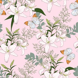 Delicate pattern with white lilies and butterflies on pink background for fabric, interior, wrapper. Seamless vector background.