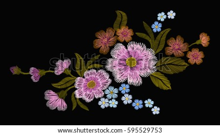 Delicate pink rose and buds on a black background. Vintage postcard. old watercolor. Traditional embroidery. vector illustration