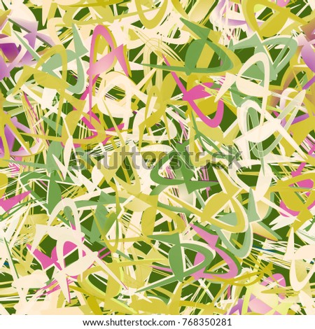 Delicate seamless pattern out of abstract unusual geometric shapes. Green, beige and pink colors.
