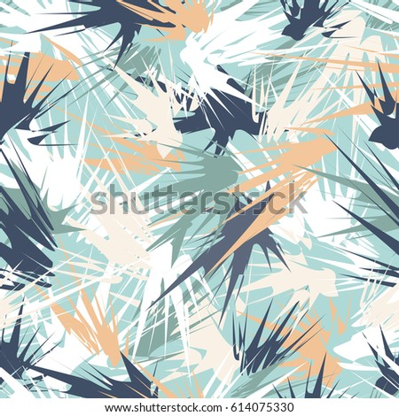 Delicate seamless pattern with colorful abstract geometrical strokes on light turquoise background. Spring pastel colors.