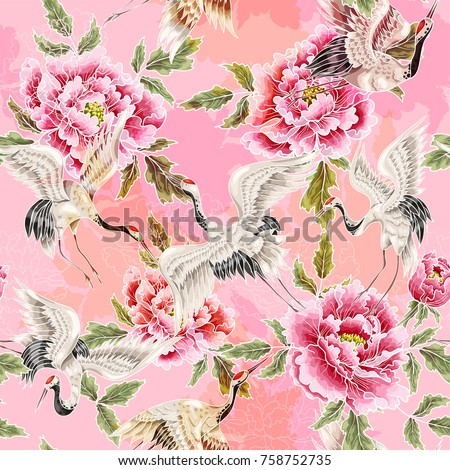 Delicate seamless pattern with Japanese white cranes and peony
