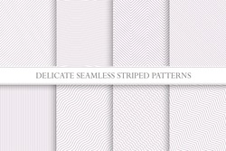 Delicate seamless striped patterns. Fabric pink textures. Tileable swatches.