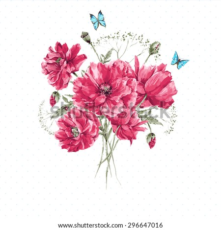 Delicate Vintage Watercolor Bouquet of Red Poppies and Blue Butterflies on White Background, Watercolor Vector illustration with Place for Your Text