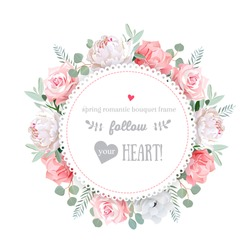 Delicate wedding floral vector design frame. Peony, rose, anemone, pink flowers. Colorful objects set. All elements are isolated and editable.