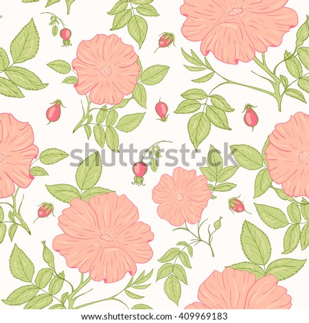 delicate wild rose pattern for