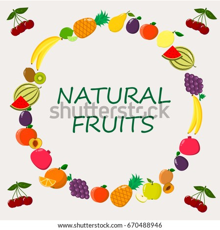 Delicious and sweet Fruits, collected in a composition in a circle on a light background./  Illustration of different  kinds of fruits on a light background.