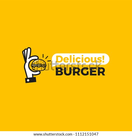 Delicious burger. Hand with a small hamburger. Logotype for restaurant or cafe . Vector illustration