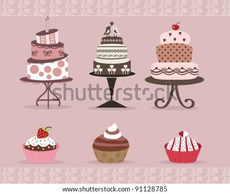 Delicious Cakes and Cup Cakes Design on Pink Background