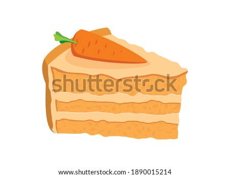 Delicious carrot cake with icing and decorative carrot icon vector. Piece of cake with carrot clip art. Delicious slice of cake icon. Carrot cake icon isolated on a white background