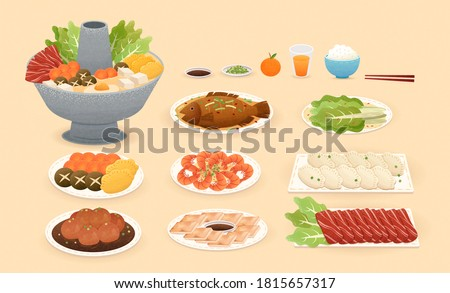 Delicious Chinese new year food in hand drawn design, isolated on yellow background