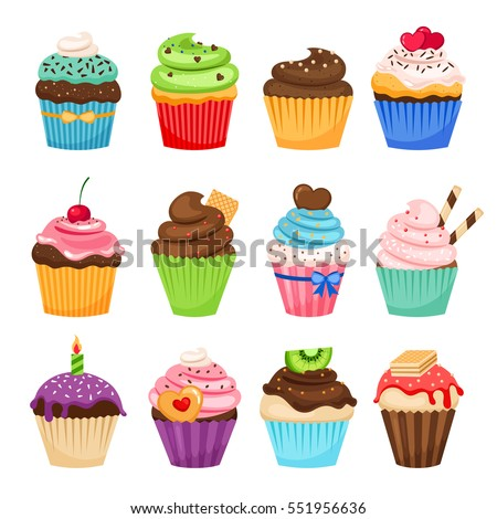 Delicious cupcakes and vector sprinkles muffin set isolated on white background.